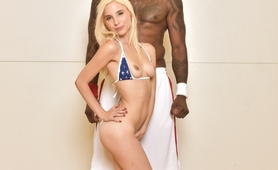 Sexy Blonde Cheerleader vs Big Black Dick