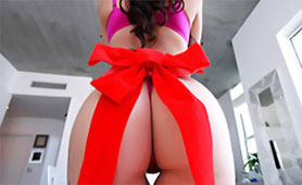 Caring Girlfriend Gives a Birthday Gift her Perfect Sexy Butt with Red Ribbon