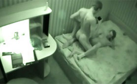 Security Camera in the Hotel Filmed Love Couple in Sexual Ecstasy