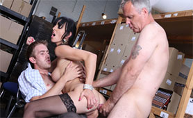 Old and Young Stallions Double Penetrated Nasty Slut in the Store Stock