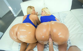 One Big Hard Cock Rammed Two Oiled Huge Butts