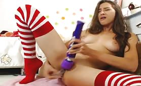 Naughty Teen Reaches Intense Orgasm with the Use Two Sex Toys at the Same Time