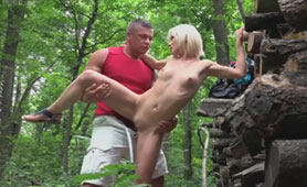 Walk Through the Woods Completed with Unexpected Outdoor Sex with a Girl who is Eager to Earn