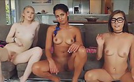 Three Sexy Horny Girls Making Hot Sexy Private Videos with Their Friend from School