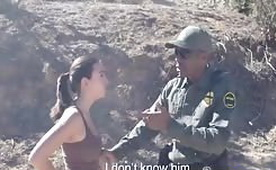 Black Corrupted Border Guard Bangs Busty Mexican Teen Outdoors