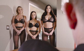 Three Hot Busty Babes Wants To Be His Secretary