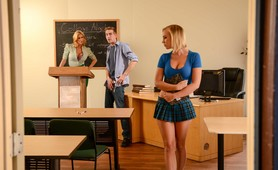 Dirty Blonde Teacher Jumps into Threesome with Amazing Teen and her Boyfriend