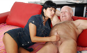 Tanned Slutty Schoolgirl Seduces Old Grandpa