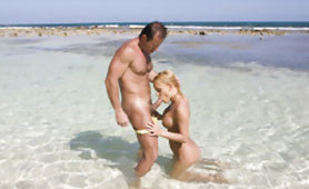 Passionate Honeymoon Sex on the Beach Ends with Hot Creampie