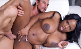 Busty Ebony MILF Filled her Asshole with Sperm of White Big Cock