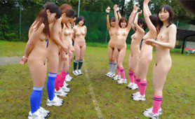 Crazy Japanese Female Soccer Team Masturbating in the Dressing Room to Warm up for the Match