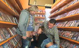 Porn Funs Fucked their Favorite Pornstar in the DVD Shop