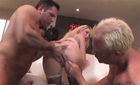 Horny Guys with Large Bats Ripped Blonde Bitch's Pussy