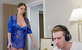 Hot Stepmom in Sexy Blue, Lacy Lingerie, Caught Me and Blackmailed Me by Hardcore Sex