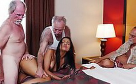 Yeah, Slutty Latina 19Yo Girl Destroyed Tiny Pussy By Three Older Motherfucker