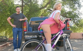 She Loves to Rides her Bike with her Big Colorful Dildo