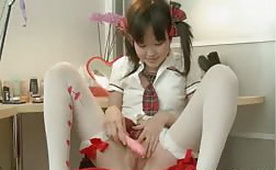 Adorable Asian Teen Pleases Her Tiny Pussy
