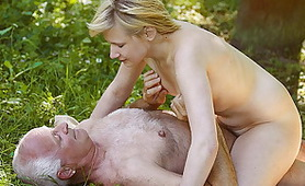 Nastu Teen Gets Fuck Old Man in the Woods and Swallows His Cum