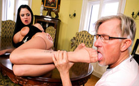 An Old Man Enjoys Young Feet of the Busty Maid - Fetish Porn