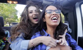 Crazy Fucking Girls in a Car with Full Enthusiasm for Fun - Lesbian 3some