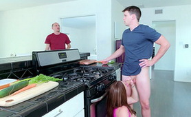 Slutty Wife Cheating Her Husband with a Boy in the Kitchen