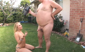 The Fat Man Could Barely See His Dick, But the Blonde Obviously Enjoyed it