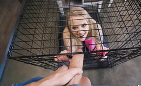 Blonde Nympho Sucks Big White Dick in Change for Her Freedom