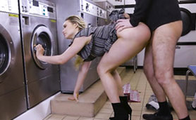 Mia Malkova is Doing a Laundry On a Weird Way