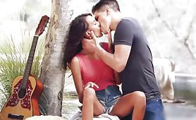 Horny Guy with Guitar Seduces Hot Latina by the Lake