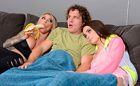 Best Movie Night Ever! Yummy Blonde MILF Joined Teen Couple!