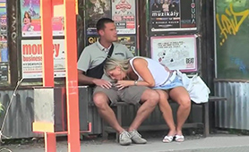 Weird Nympho Chick Gives Blowjob to Confused Guy at the Bus Station