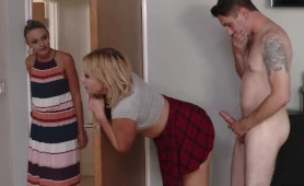 Dirty Step Siblings Almost Get Caught Fucking in the Bedroom! Crazy Family Xxx