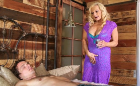Horny Blonde Granny Gets Wet and Dirty While Watching Sleeping Young Man