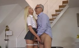 Perverted Old Teacher Takes Advantage of Hot Blonde Schoolgirl
