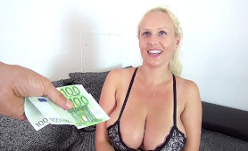 Stunning Busty MILF Agrees to Suck and Fuck for 200 Euros!