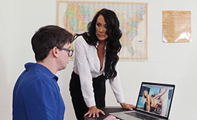 MILF Teacher Reagan Foxx Caught Big-dicked Youngster Watching Porn