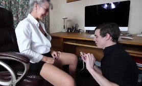 IT Boy Seduced and Fucked by Slutty Blonde Granny