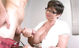 Nasty Granny Slut Gives Nice Handjob to Young Horny Man