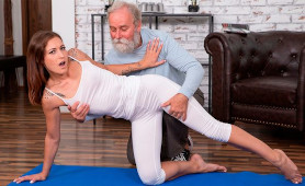 Stunning Young Babe Mina Groped By Old Man While Doing Yoga