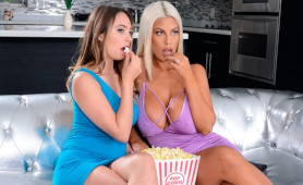 Cute Models Fucking With A Big Toy After Popcorn