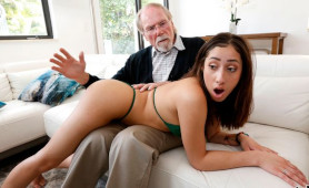 Sweet Brunette Student with perky tits Spanked and Banged by Old Kinky Man