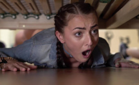Naive Stupid Teens Fucked While Getting Stacked Under the Bed